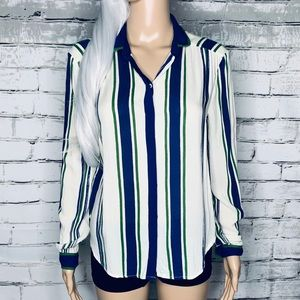 Anthro Maeve Striped Button Down Long Sleeve